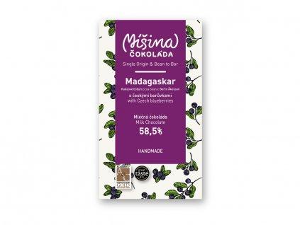 Mléčná čokoláda 58,5 % Madagaskar s českými borůvkami